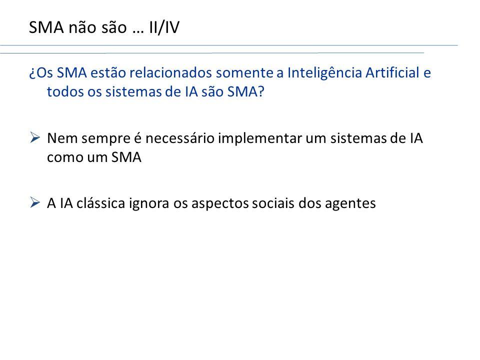 SMA não são … II/IV ¿Os SMA estão relacionados somente a Inteligência Artificial e todos os sistemas de IA são SMA.