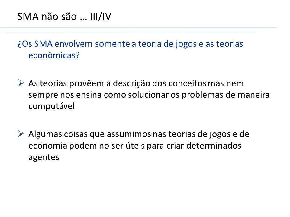 SMA não são … III/IV ¿Os SMA envolvem somente a teoria de jogos e as teorias econômicas.