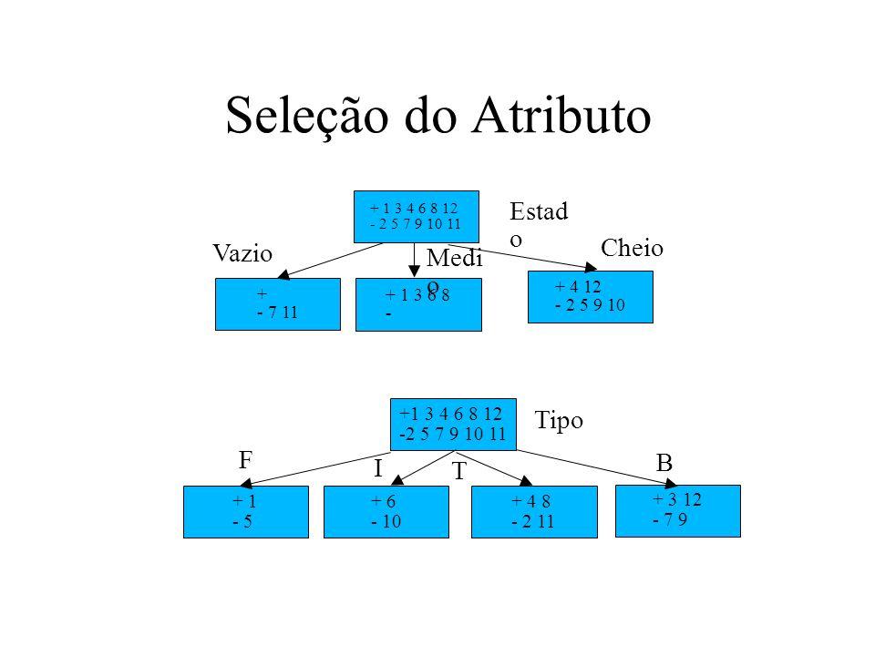 Seleção do Atributo +1 3 4 6 8 12 -2 5 7 9 10 11 + 1 - 5 + 6 - 10 + 4 8 - 2 11 + 3 12 - 7 9 + 1 3 4 6 8 12 - 2 5 7 9 10 11 + - 7 11 + 1 3 6 8 - + 4 12
