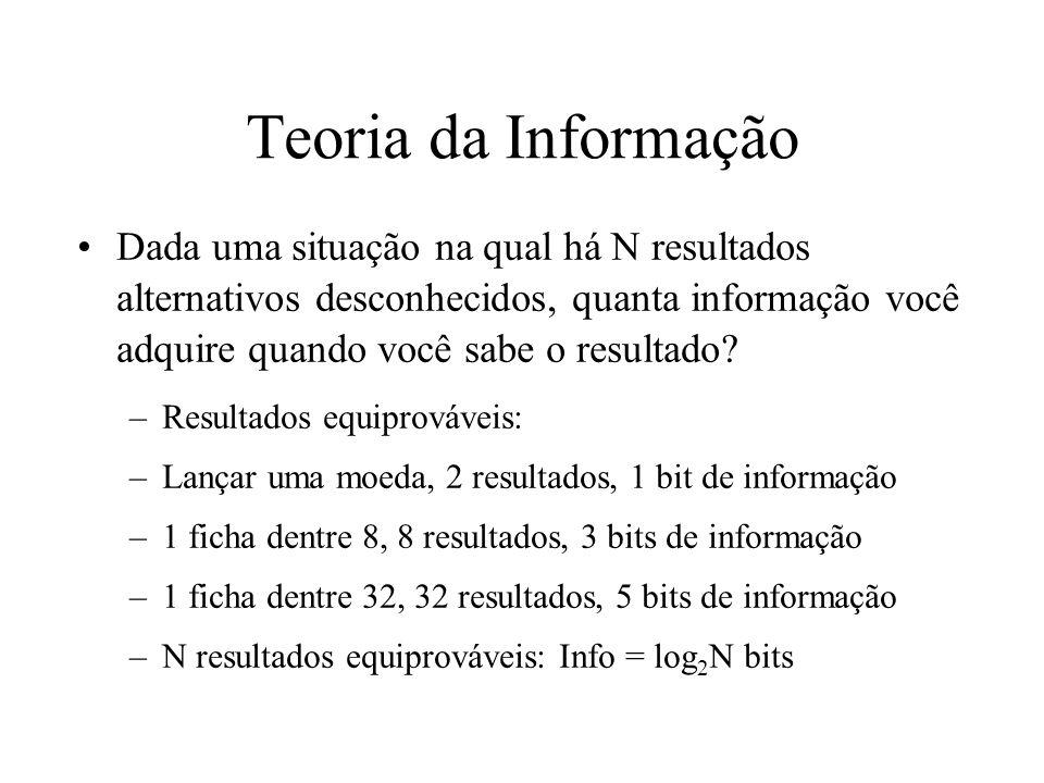 Teoria da Informação Dada uma situação na qual há N resultados alternativos desconhecidos, quanta informação você adquire quando você sabe o resultado