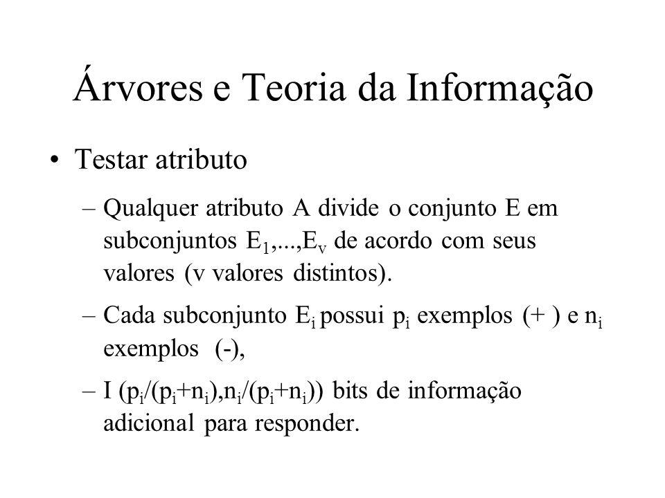 Árvores e Teoria da Informação Testar atributo –Qualquer atributo A divide o conjunto E em subconjuntos E 1,...,E v de acordo com seus valores (v valo
