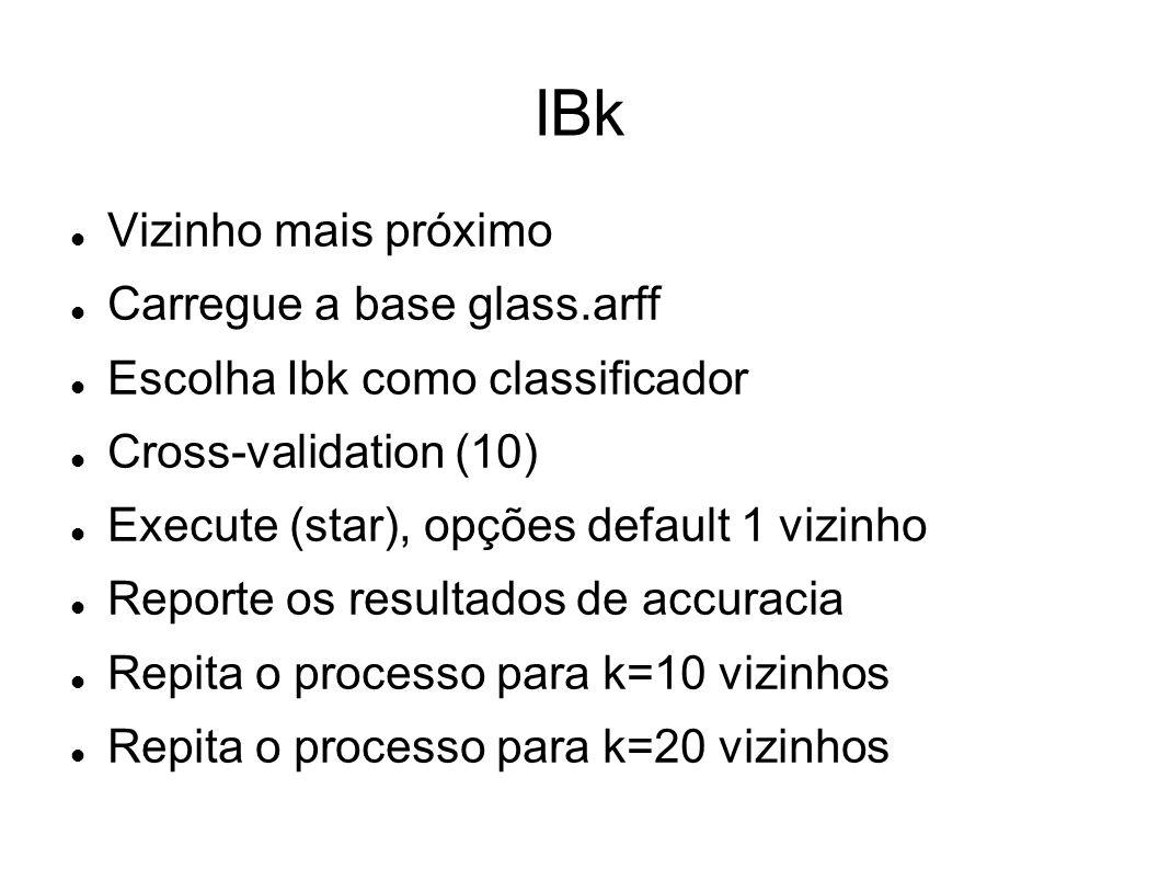 IBk Vizinho mais próximo Carregue a base glass.arff Escolha Ibk como classificador Cross-validation (10) Execute (star), opções default 1 vizinho Repo
