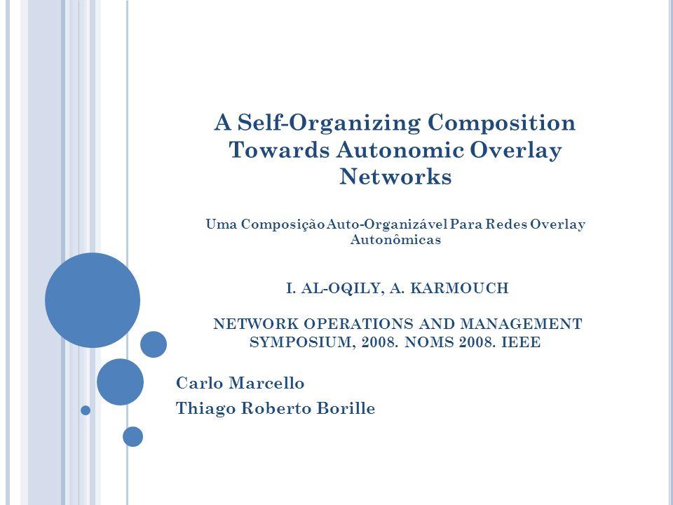 A Self-Organizing Composition Towards Autonomic Overlay Networks Uma Composição Auto-Organizável Para Redes Overlay Autonômicas I. AL-OQILY, A. KARMOU