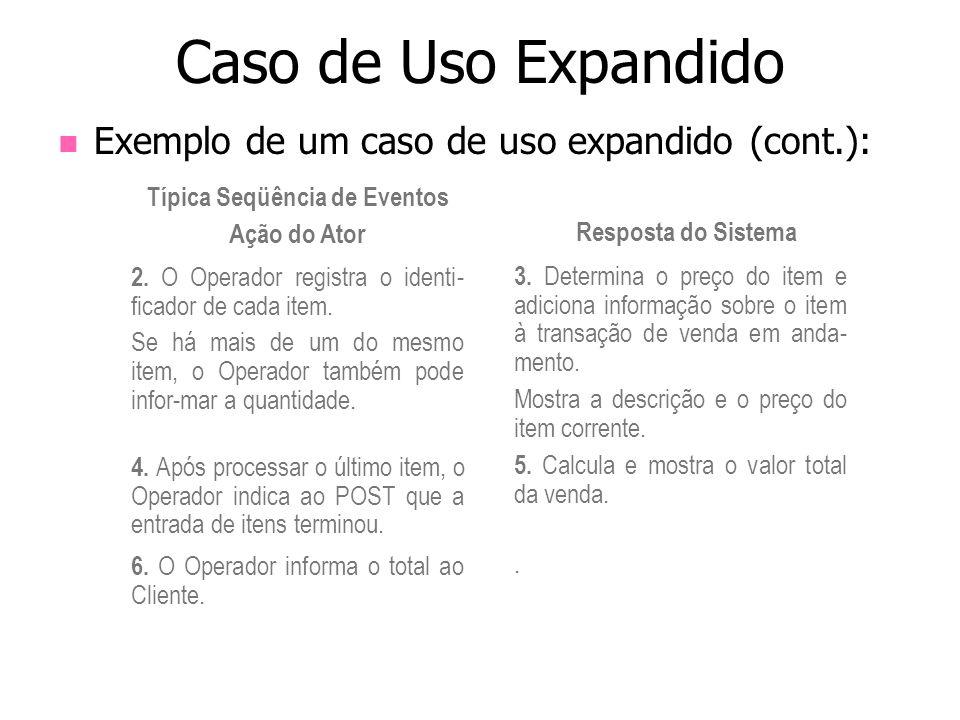Exemplo de um caso de uso expandido (cont.): Caso de Uso Expandido Típica Seqüência de Eventos Ação do Ator Resposta do Sistema 2. O Operador registra