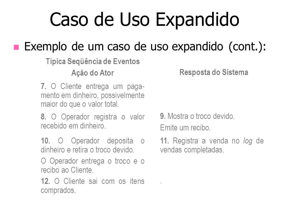 Exemplo de um caso de uso expandido (cont.): Caso de Uso Expandido Típica Seqüência de Eventos Ação do Ator Resposta do Sistema 7. O Cliente entrega u