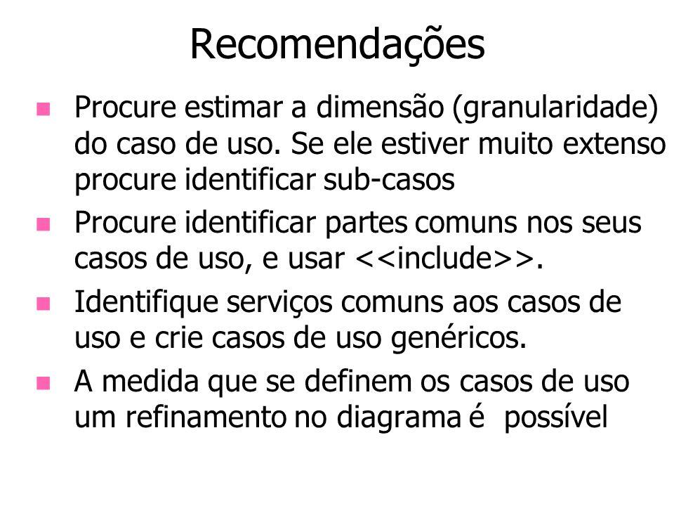 Recomendações Procure estimar a dimensão (granularidade) do caso de uso. Se ele estiver muito extenso procure identificar sub-casos Procure identifica