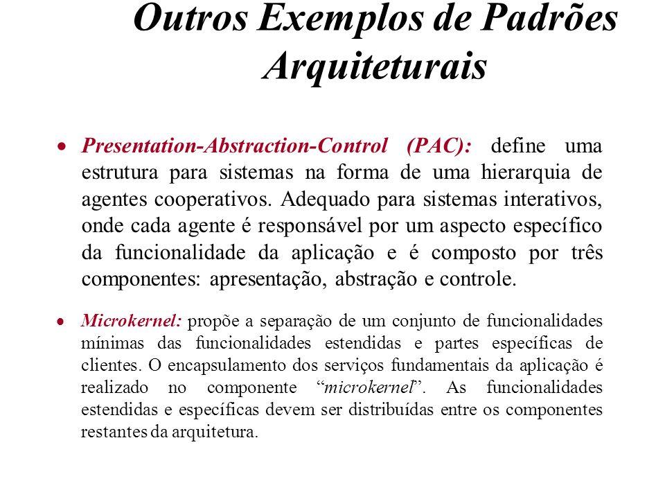 Outros Exemplos de Padrões Arquiteturais Presentation-Abstraction-Control (PAC): define uma estrutura para sistemas na forma de uma hierarquia de agen