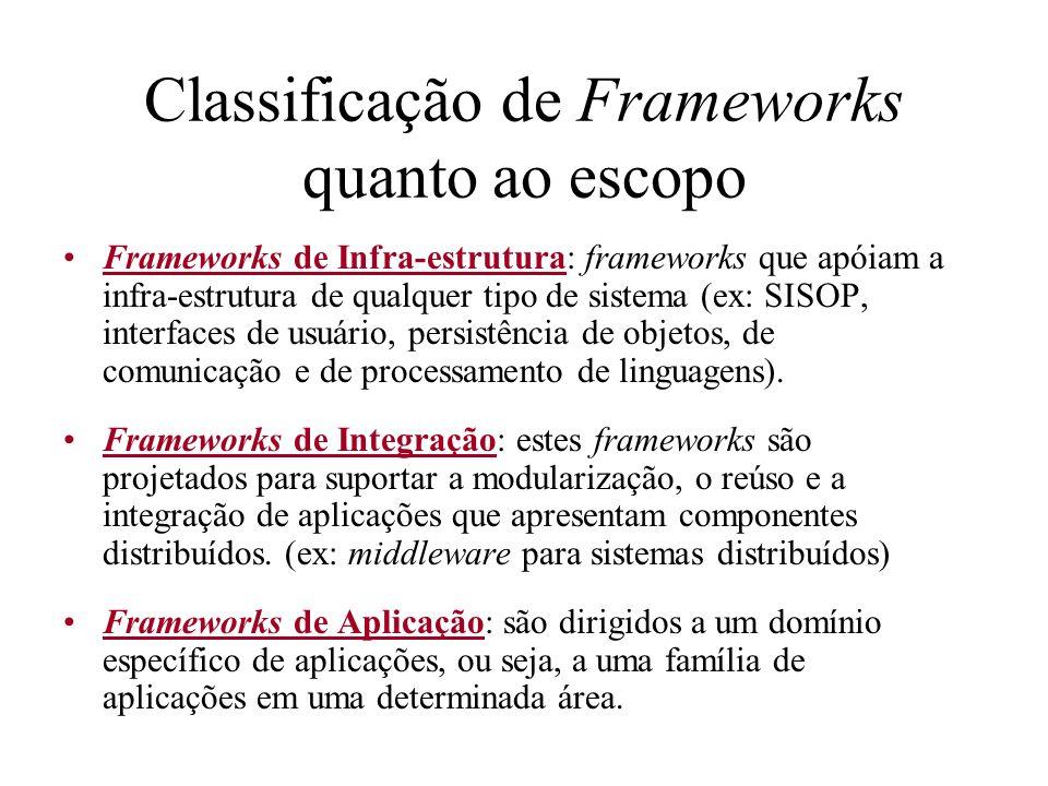 Classificação de Frameworks quanto ao escopo Frameworks de Infra-estrutura: frameworks que apóiam a infra-estrutura de qualquer tipo de sistema (ex: S