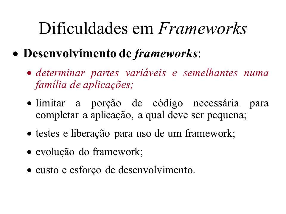 Dificuldades em Frameworks Desenvolvimento de frameworks: determinar partes variáveis e semelhantes numa família de aplicações; limitar a porção de có