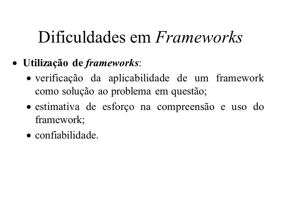 Dificuldades em Frameworks Utilização de frameworks: verificação da aplicabilidade de um framework como solução ao problema em questão; estimativa de