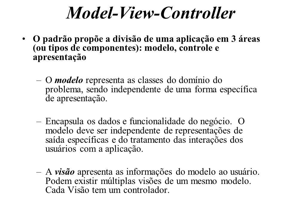 Model-View-Controller O padrão propõe a divisão de uma aplicação em 3 áreas (ou tipos de componentes): modelo, controle e apresentação –O modelo repre