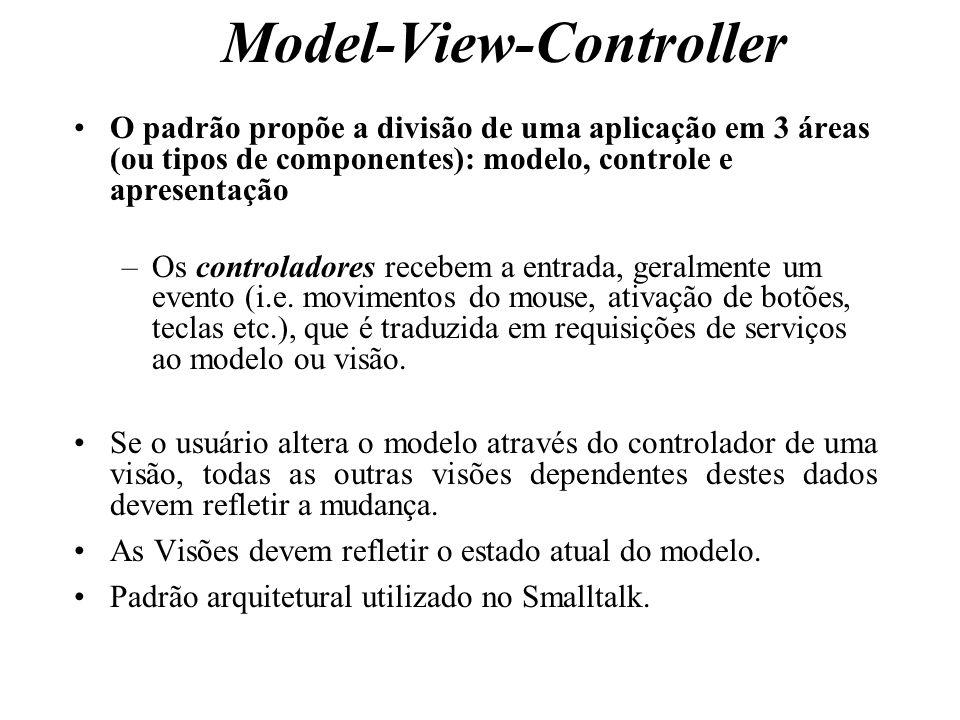Model-View-Controller O padrão propõe a divisão de uma aplicação em 3 áreas (ou tipos de componentes): modelo, controle e apresentação –Os controlador