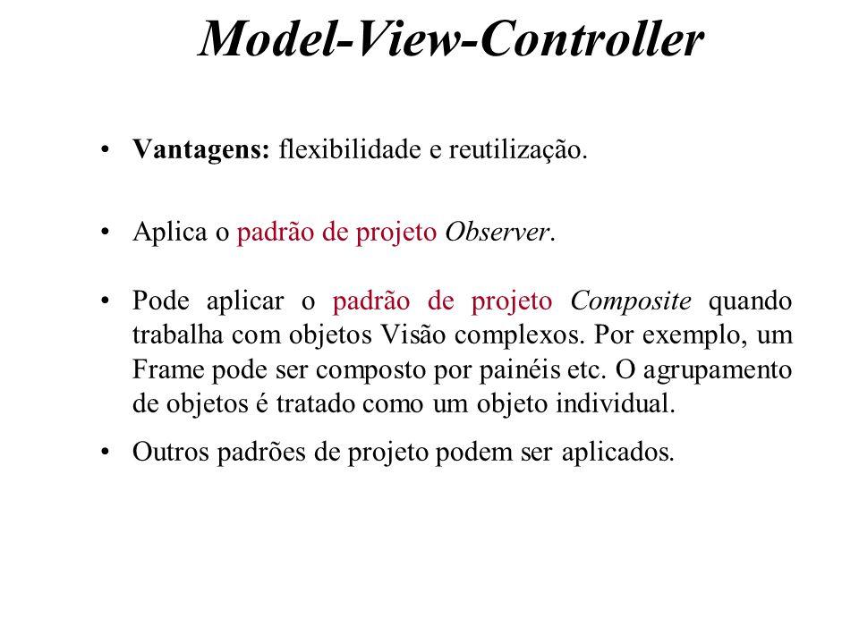 Model-View-Controller Vantagens: flexibilidade e reutilização. Aplica o padrão de projeto Observer. Pode aplicar o padrão de projeto Composite quando