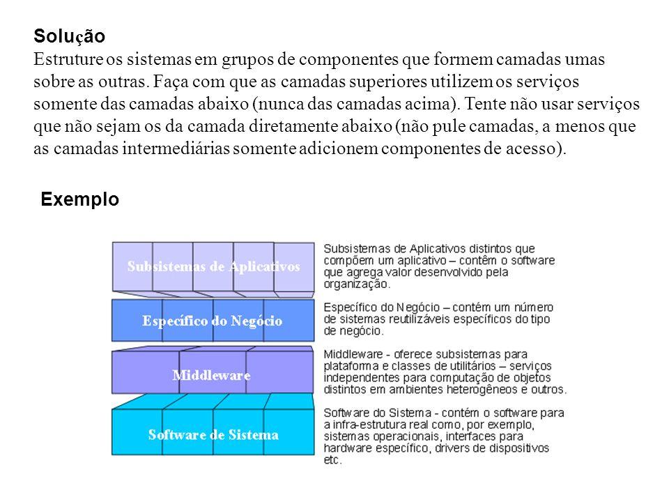 Exemplo Solu ç ão Estruture os sistemas em grupos de componentes que formem camadas umas sobre as outras. Faça com que as camadas superiores utilizem