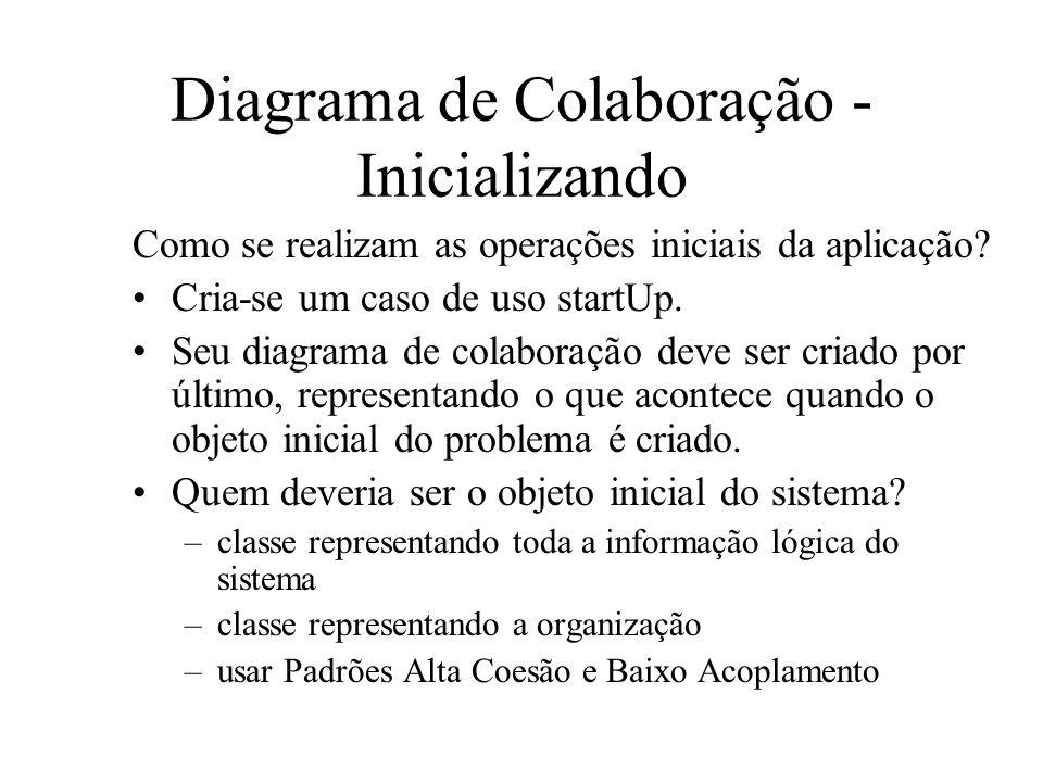 Diagrama de Colaboração - Inicializando Como se realizam as operações iniciais da aplicação? Cria-se um caso de uso startUp. Seu diagrama de colaboraç