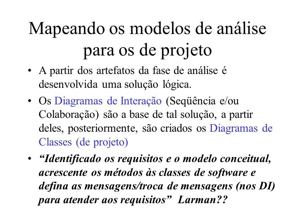 A partir dos artefatos da fase de análise é desenvolvida uma solução lógica. Os Diagramas de Interação (Seqüência e/ou Colaboração) são a base de tal