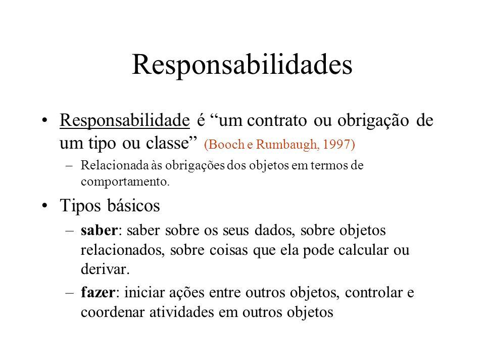 Responsabilidades Responsabilidade é um contrato ou obrigação de um tipo ou classe (Booch e Rumbaugh, 1997) –Relacionada às obrigações dos objetos em