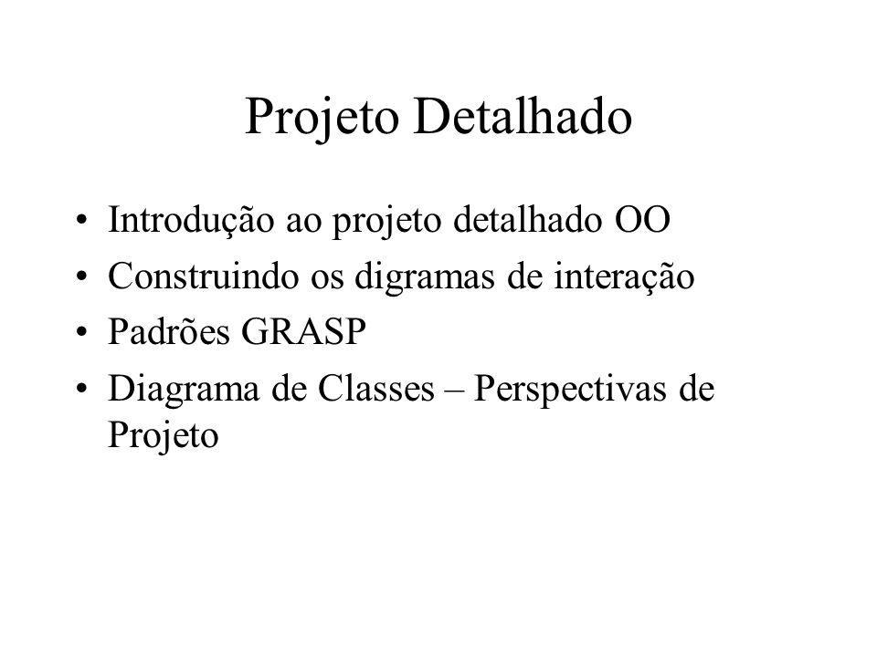Projeto Detalhado Introdução ao projeto detalhado OO Construindo os digramas de interação Padrões GRASP Diagrama de Classes – Perspectivas de Projeto