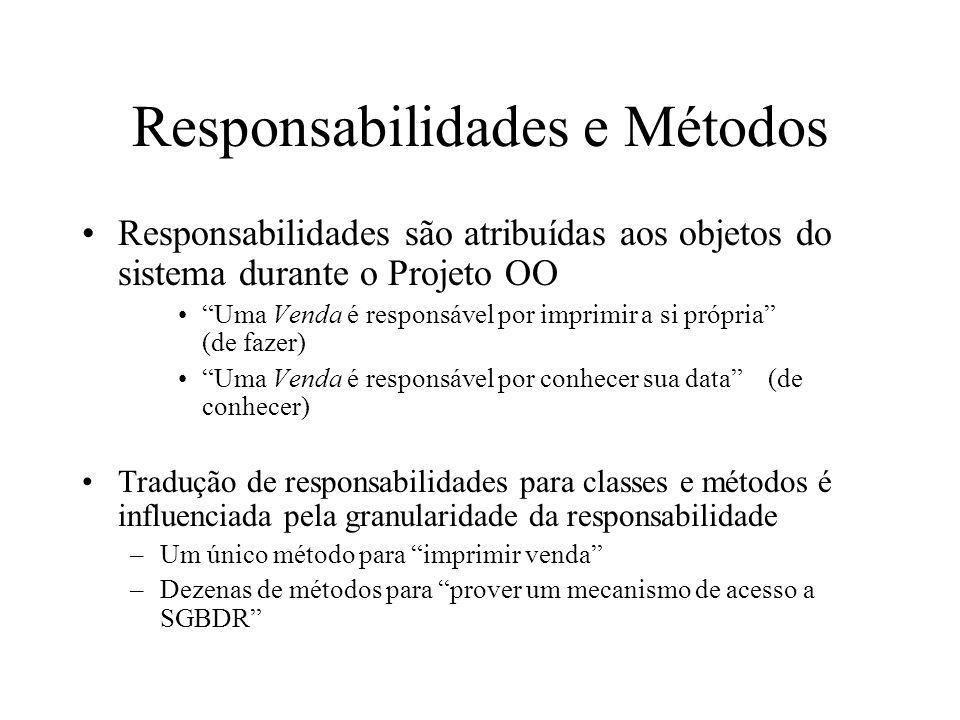 Responsabilidades e Métodos Responsabilidades são atribuídas aos objetos do sistema durante o Projeto OO Uma Venda é responsável por imprimir a si pró