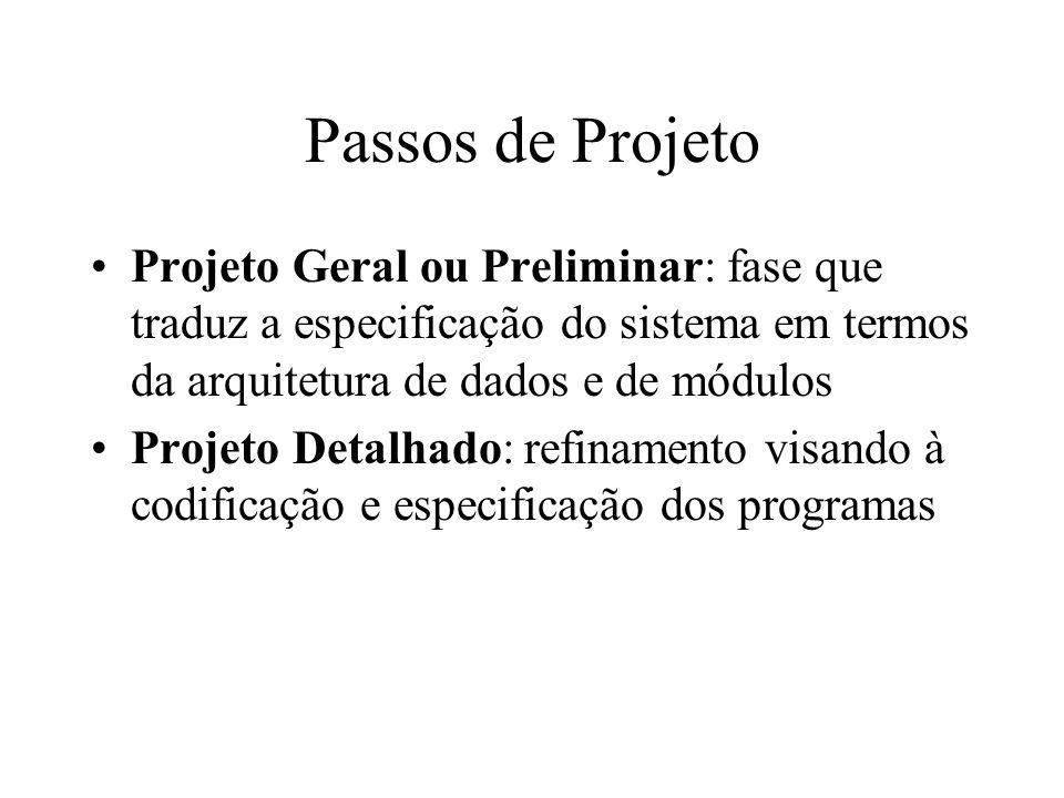 Passos de Projeto Projeto Geral ou Preliminar: fase que traduz a especificação do sistema em termos da arquitetura de dados e de módulos Projeto Detal