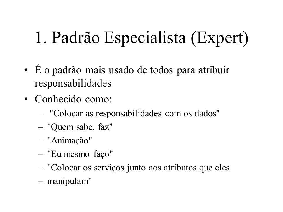 1. Padrão Especialista (Expert) É o padrão mais usado de todos para atribuir responsabilidades Conhecido como: –