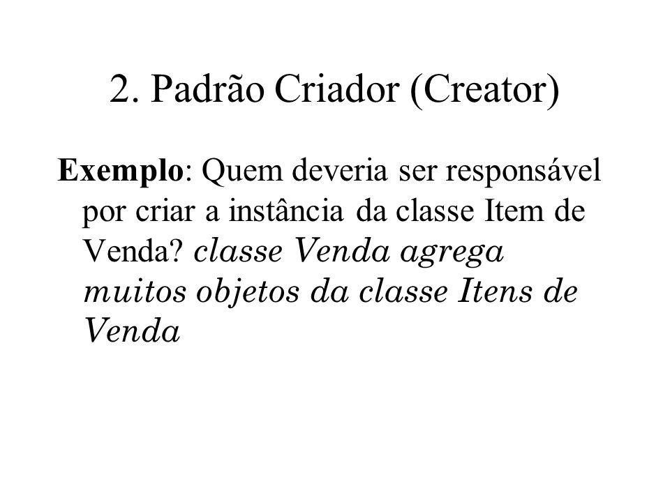 2. Padrão Criador (Creator) Exemplo: Quem deveria ser responsável por criar a instância da classe Item de Venda? classe Venda agrega muitos objetos da