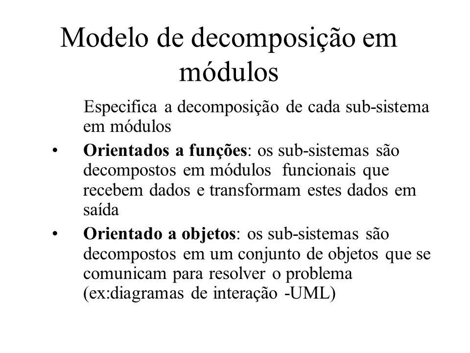 Modelo de decomposição em módulos Especifica a decomposição de cada sub-sistema em módulos Orientados a funções: os sub-sistemas são decompostos em mó