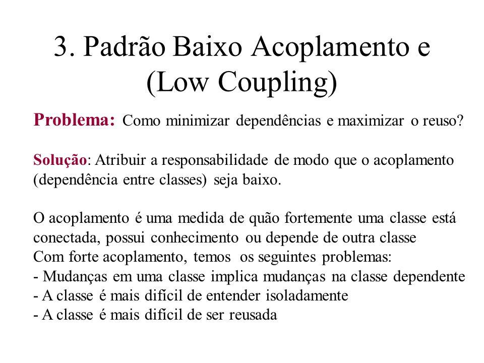 3. Padrão Baixo Acoplamento e (Low Coupling) Problema: Como minimizar dependências e maximizar o reuso? Solução: Atribuir a responsabilidade de modo q