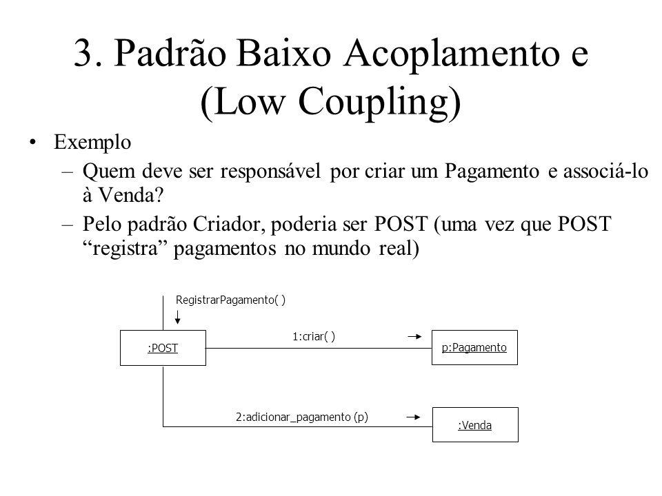 3. Padrão Baixo Acoplamento e (Low Coupling) :POST RegistrarPagamento( ) p:Pagamento 1:criar( ) :Venda 2:adicionar_pagamento (p) Exemplo –Quem deve se