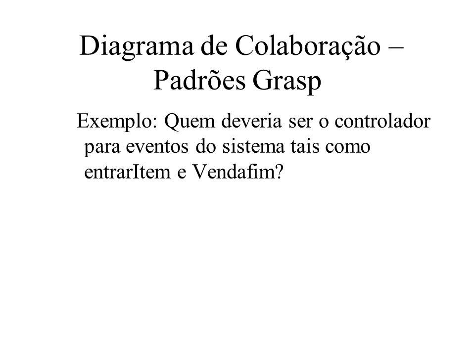 Diagrama de Colaboração – Padrões Grasp Exemplo: Quem deveria ser o controlador para eventos do sistema tais como entrarItem e Vendafim?