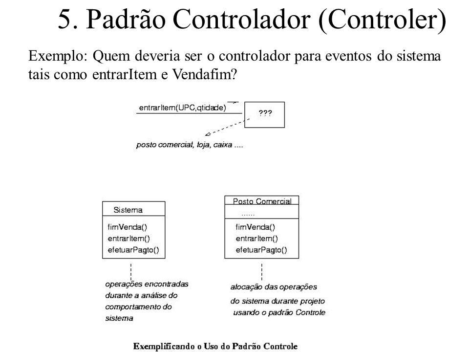 5. Padrão Controlador (Controler) Exemplo: Quem deveria ser o controlador para eventos do sistema tais como entrarItem e Vendafim?