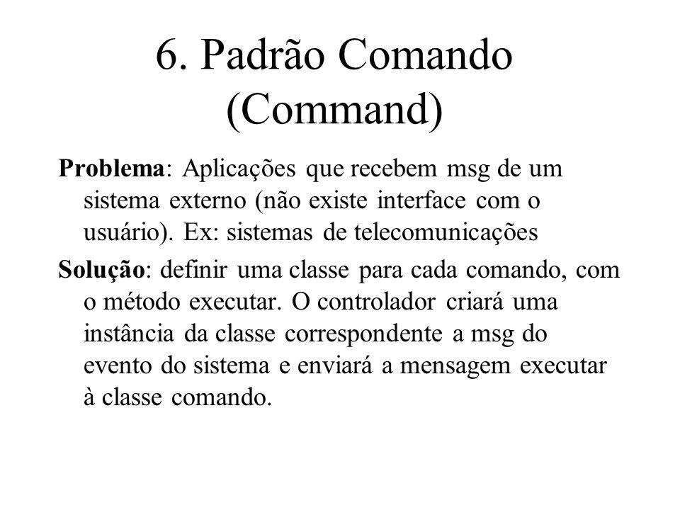 6. Padrão Comando (Command) Problema: Aplicações que recebem msg de um sistema externo (não existe interface com o usuário). Ex: sistemas de telecomun