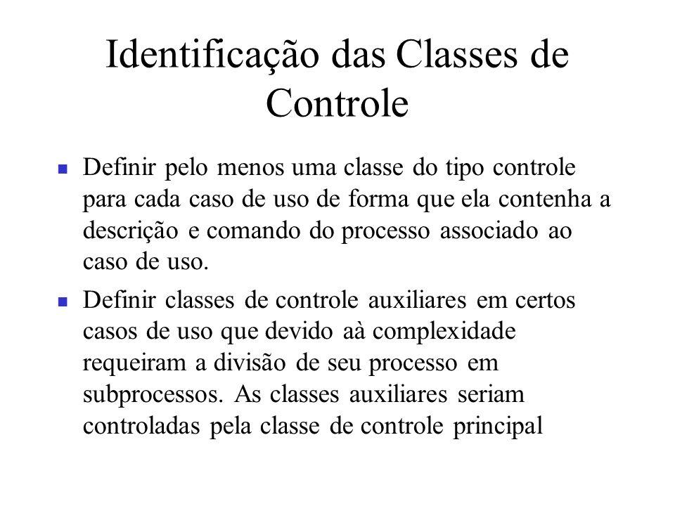 Identificação das Classes de Controle Definir pelo menos uma classe do tipo controle para cada caso de uso de forma que ela contenha a descrição e com