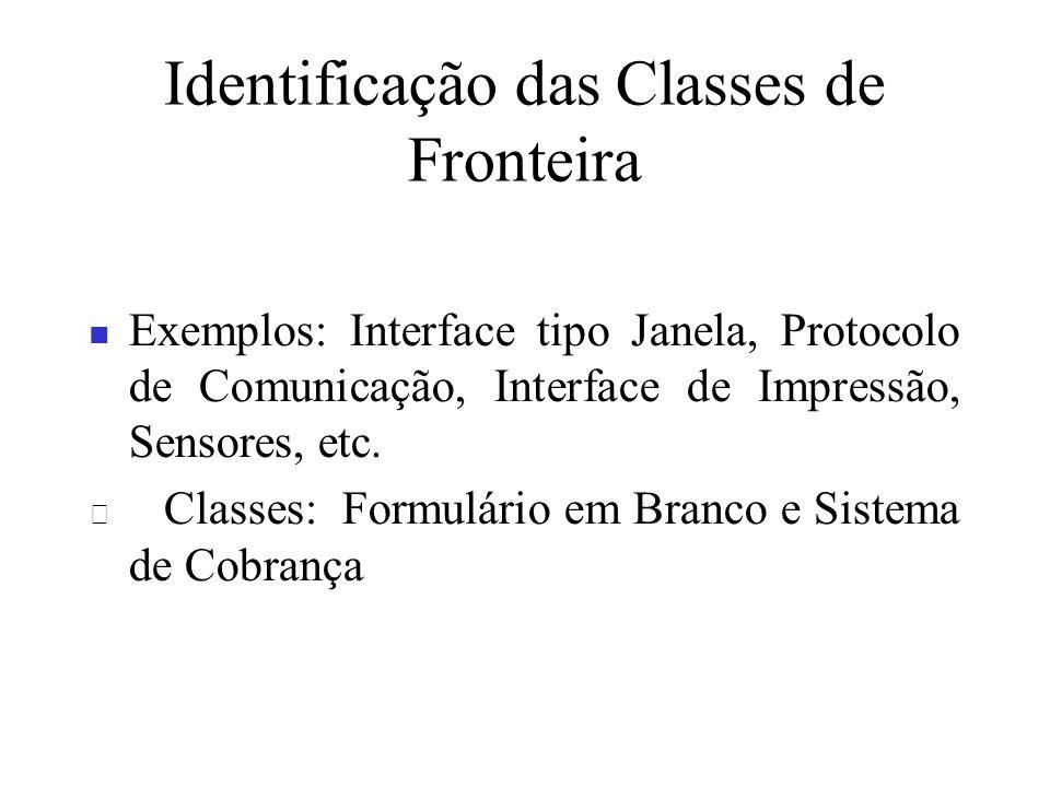 Identificação das Classes de Fronteira Exemplos: Interface tipo Janela, Protocolo de Comunicação, Interface de Impressão, Sensores, etc. Classes: Form