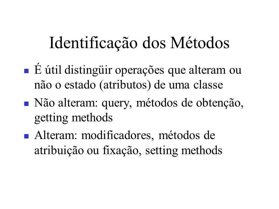 Identificação dos Métodos É útil distingüir operações que alteram ou não o estado (atributos) de uma classe Não alteram: query, métodos de obtenção, g