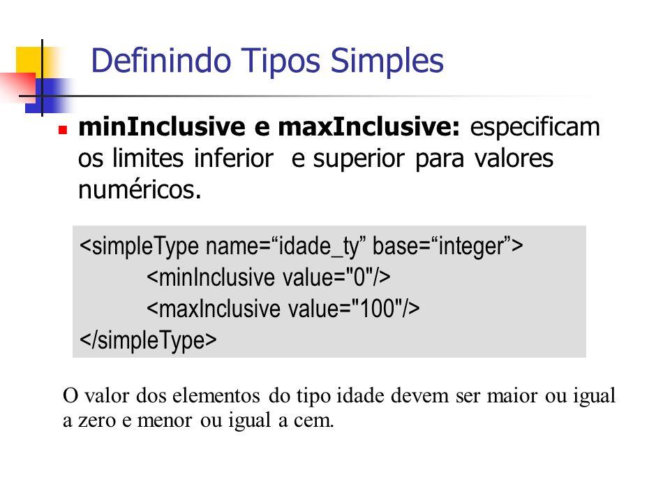 minInclusive e maxInclusive: especificam os limites inferior e superior para valores numéricos. Definindo Tipos Simples O valor dos elementos do tipo