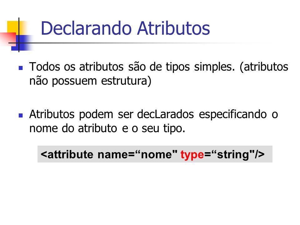 Declarando Atributos Todos os atributos são de tipos simples. (atributos não possuem estrutura) Atributos podem ser decLarados especificando o nome do