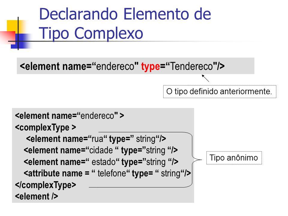 O tipo definido anteriormente. Declarando Elemento de Tipo Complexo Tipo anônimo