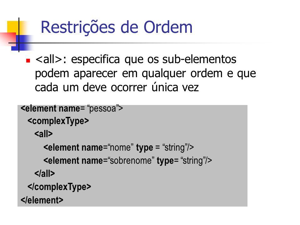 : especifica que os sub-elementos podem aparecer em qualquer ordem e que cada um deve ocorrer única vez Restrições de Ordem