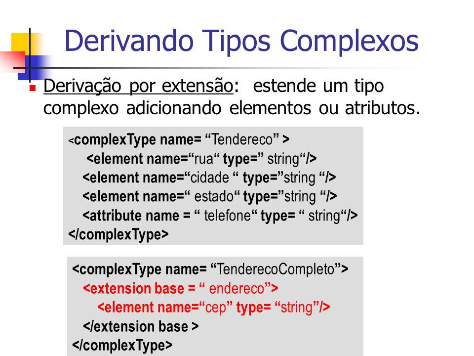Derivando Tipos Complexos Derivação por extensão: estende um tipo complexo adicionando elementos ou atributos.
