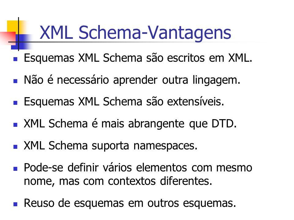XML Schema-Vantagens Esquemas XML Schema são escritos em XML. Não é necessário aprender outra lingagem. Esquemas XML Schema são extensíveis. XML Schem