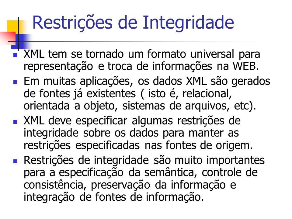 Restrições de Integridade XML tem se tornado um formato universal para representação e troca de informações na WEB. Em muitas aplicações, os dados XML