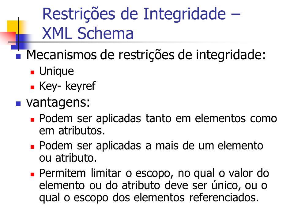 Restrições de Integridade – XML Schema Mecanismos de restrições de integridade: Unique Key- keyref vantagens: Podem ser aplicadas tanto em elementos c