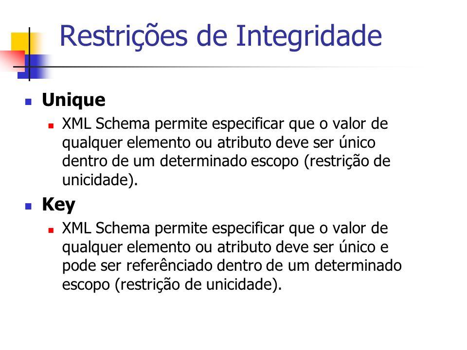 Restrições de Integridade Unique XML Schema permite especificar que o valor de qualquer elemento ou atributo deve ser único dentro de um determinado e
