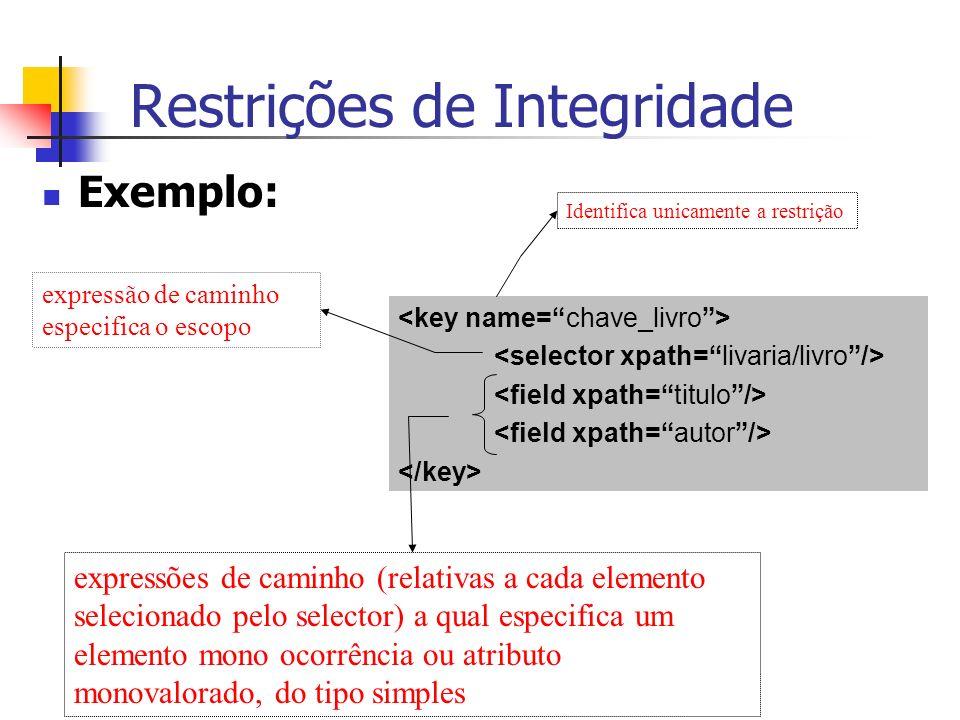 Restrições de Integridade Exemplo: Identifica unicamente a restrição expressão de caminho especifica o escopo expressões de caminho (relativas a cada