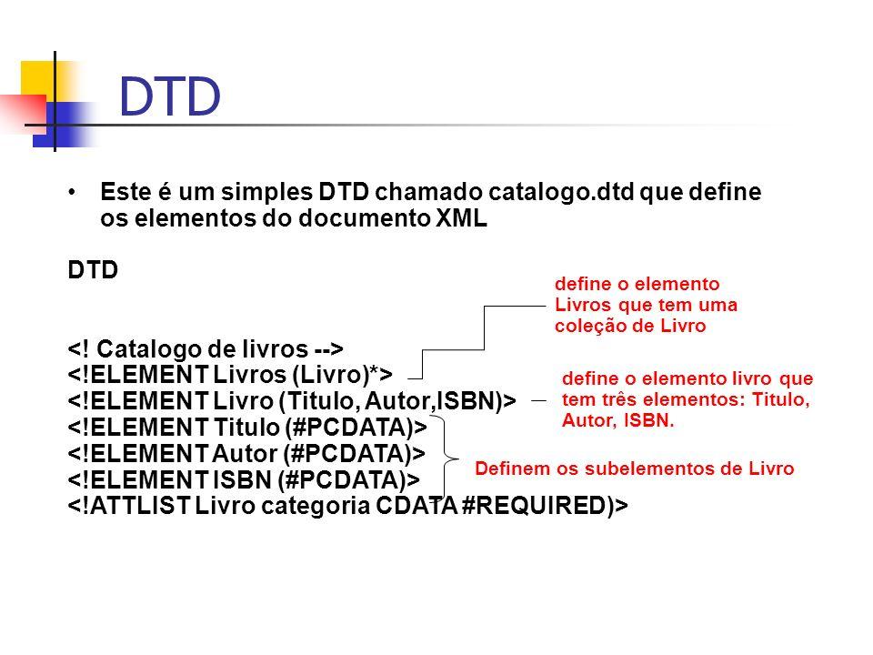 DTD Este é um simples DTD chamado catalogo.dtd que define os elementos do documento XML DTD Definem os subelementos de Livro define o elemento livro q