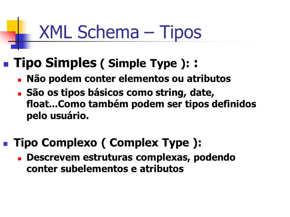 XML Schema – Tipos Tipo Simples ( Simple Type ): : Não podem conter elementos ou atributos São os tipos básicos como string, date, float...Como também