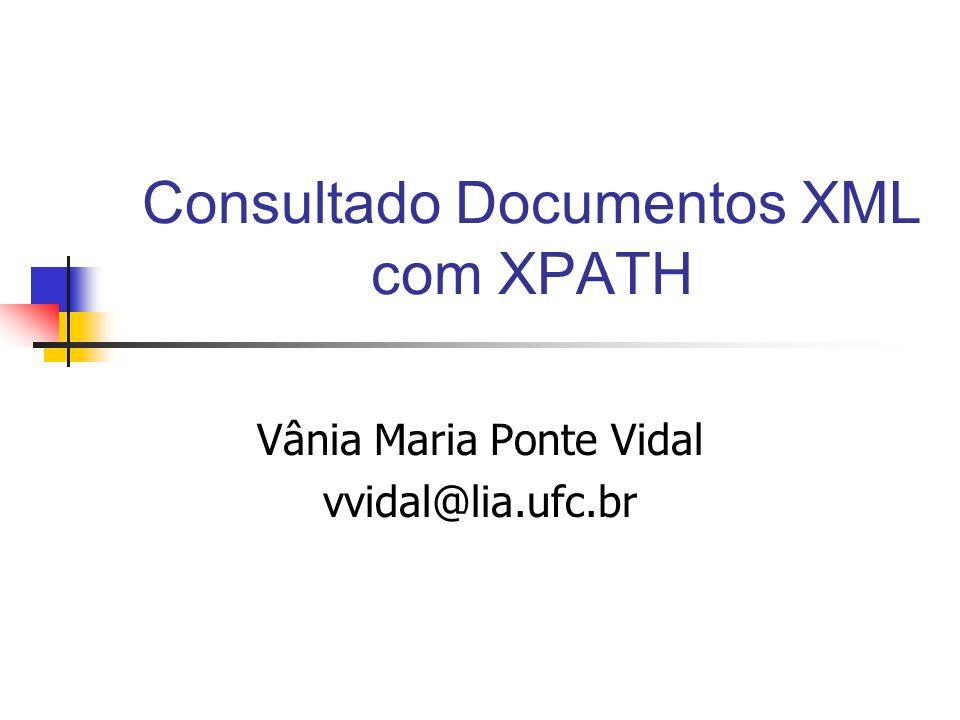 Consultado Documentos XML com XPATH Vânia Maria Ponte Vidal vvidal@lia.ufc.br