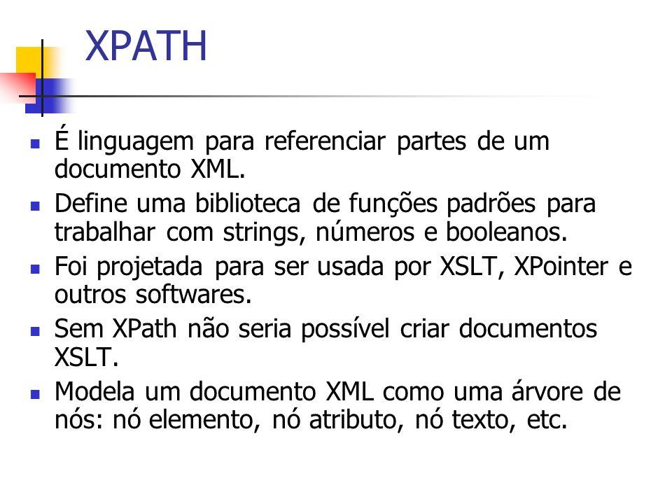 XPATH É linguagem para referenciar partes de um documento XML. Define uma biblioteca de funções padrões para trabalhar com strings, números e booleano