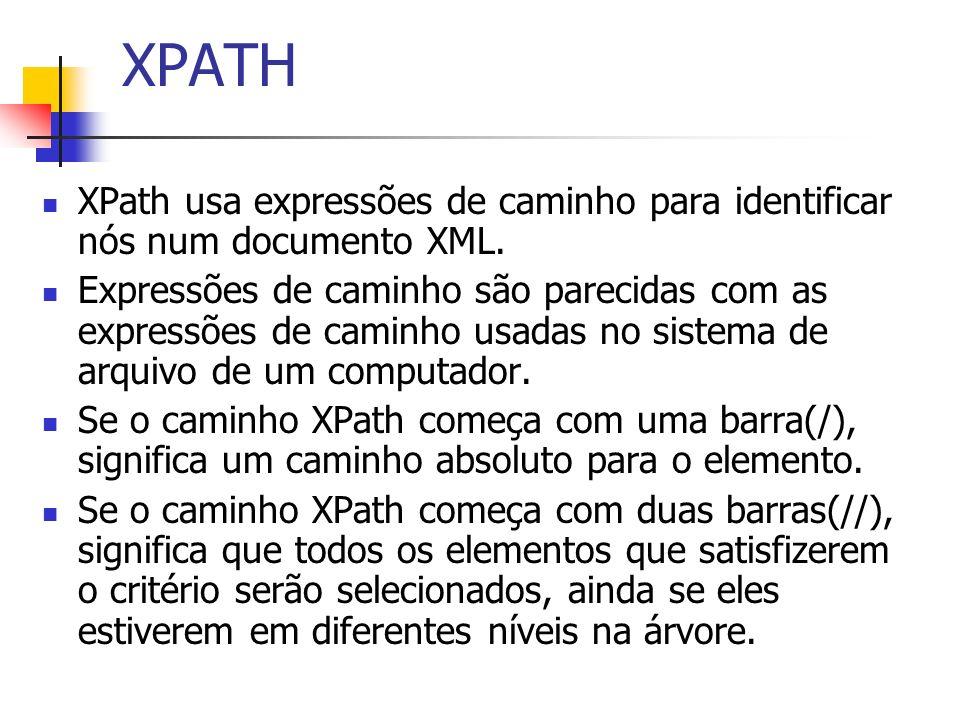 XPATH XPath usa expressões de caminho para identificar nós num documento XML. Expressões de caminho são parecidas com as expressões de caminho usadas